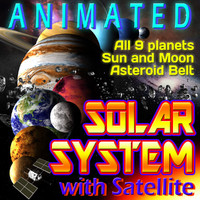 Solar System with Asteroids and Satellite