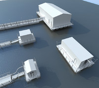 floating pumping stations 3d model
