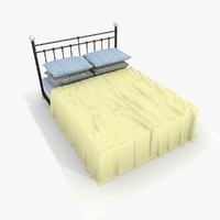 3d model bed yellow sheet