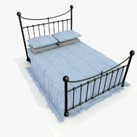 metal bed blue 3d model