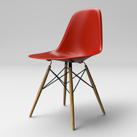 Eames Molded Plastic Chair with Wooden Base