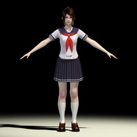 t-pose japanese girl natsumi 3d model