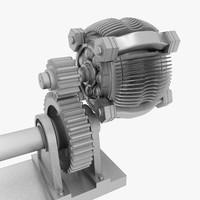 3d model motor worm gear