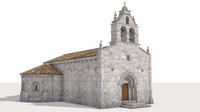 romanesque church 3d obj
