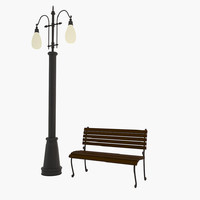3d model cartoon street lamp bench