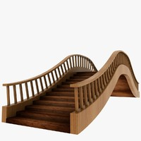 3d wood wooden bridge