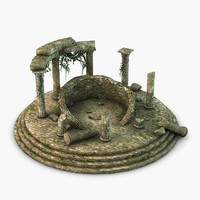 3d model ancient temple vines