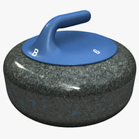 curling stone blue 3d model