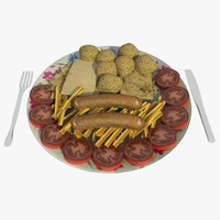 food dish chips sausages 3d model