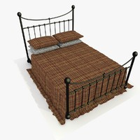 3d metal bed red fabric