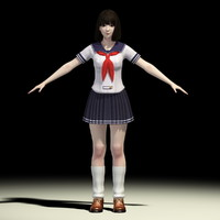 T-Pose of Japanese schoolgirl Mariko