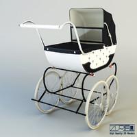 3d model pram retro