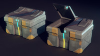 metal garbage bin science fiction 3d model