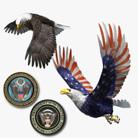 3d model bald eagle patriot set…