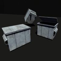 3d model street dumpster ready