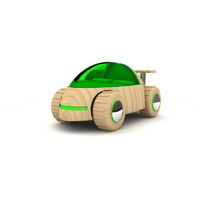 Dark green wooden toy car