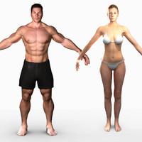 3d ma unrigged male female combo