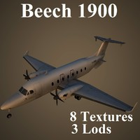 beech 1900 low-poly 3d max