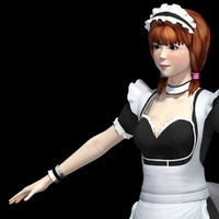 3d model of t-pose girl nana maid