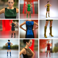 3d girl leather dress model