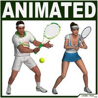 3d model racket characters tennis player