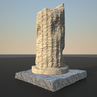 ancient damaged column 3d obj