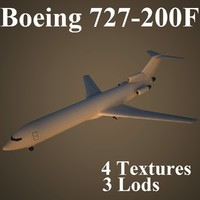 3ds max boeing 727-200f low-poly