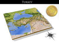 3d turkey resolution relief maps model