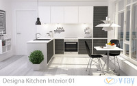 3d max modern kitchen interior