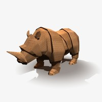3d origami rhinoceros model