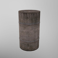 3d model rusty barrel ready