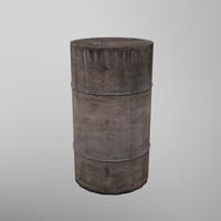 3d model rusty barrel ready