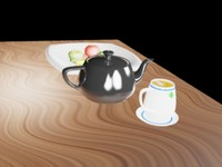 3d dwg fruit bowl teapot tea