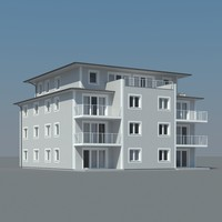 3d condo building balcony model