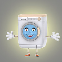 cartoon washing machine 3d model