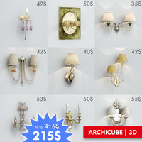 ac wall lights set 3d max