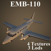 embraer bandeirante low-poly max
