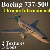 boeing 737-500 aui 3d max