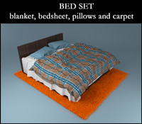 Bed with blanket, bedsheet, pillows and carpet