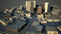 cityscape scene office buildings 3d model