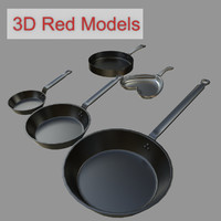 frying pans 3d obj