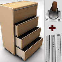chest drawers cabinet wheels 3d model