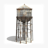 Water tower (low-poly).