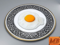 3d model fried egg dish