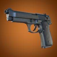 beretta 92 handgun 3d model