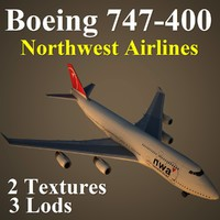 3d model of boeing 747-400 nwa