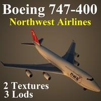 boeing 747-400 nwa 3d max