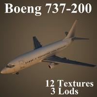 3d 737-200 air low-poly