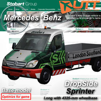 mercedes benz sprinter dropside 3d 3ds