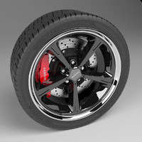 3d model car wheel disc brake